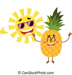 Funny pineapple and sun characters enjoying summer vacation