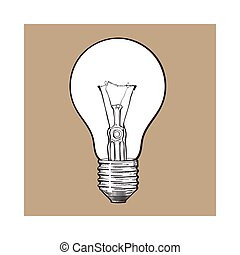 Traditional transparent tungsten light bulb, side view,...