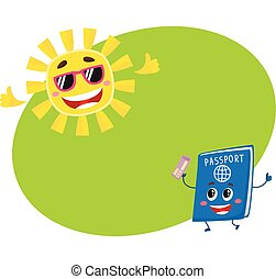 Passport and sun characters symbolizing vacation, holidays in exotic countries
