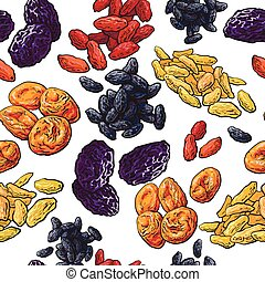 Sketch style dried fruits seamless pattern on white...
