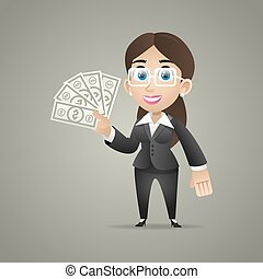 Business woman holds dollar notes in hand
