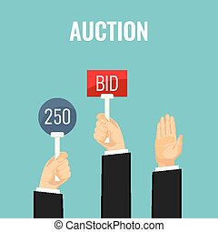 Auction with hands holding paddles number and BID...