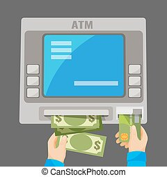 Hand inserting credit card into grey ATM and withdrawing money
