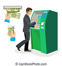 Man near ATM holding credit card and its usage sign - Man in...