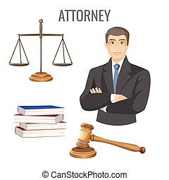 Attorney in glasses near scales, four books and judge gavel...