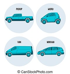 Pickup truck, Microcar, van road vehicle, minivan multipurpose automobile vector