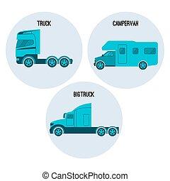 Truck or lorry motor vehicle. Campervan, camper,...