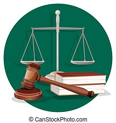 Judge gavel and grey scale with two book on green - Judge...