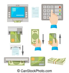 ATM usage concept set with money and credit card - ATM usage...