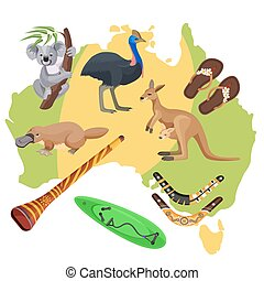 Australia symbols on map. Koala, kangaroo, surfboard,...
