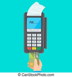 Hand taking card from dark POS terminal with white cheque -...
