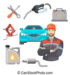 Car service set. Worker near expensive automobile and working tools