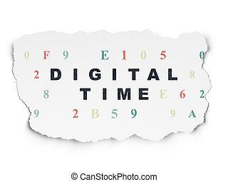 Timeline concept: Digital Time on Torn Paper background -...