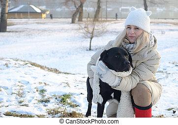 donna, inverno, giorno, cane