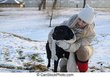 donna, cane, Abbracciare