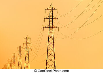 electricity pylons - pylons supporting overhead electricity...