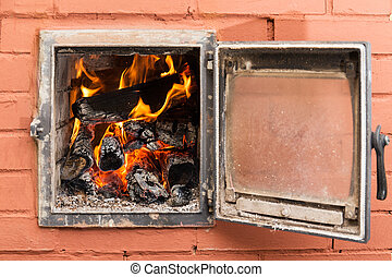 brick oven with fire - Russian brick oven with fire close up