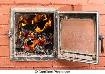 fuego, ladrillo, horno