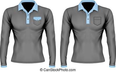 Polo shirt with pocket - Three-button placket polo collar...