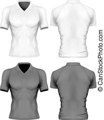 Short-sleeve polo-shirt on the mens sports figure. Front and...