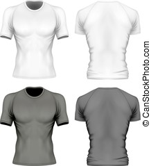 Short-sleeve t-shirt with round neck on the mens sports...
