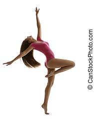 Woman Sport Dancing, Girl Fitness Dancer Isolated over White, Young Slim Gymnast in Dance