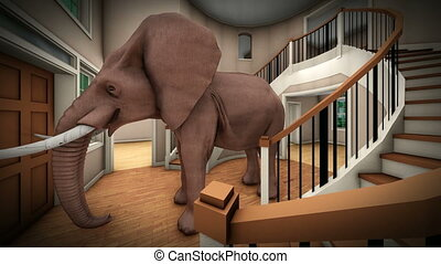Elephant in the living room 3d rendering - Elephant in the...