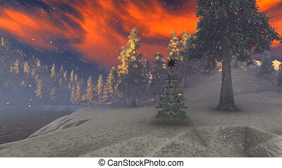 Snow covered Christmas forest in mountains 3d rendering