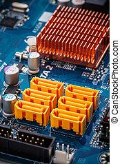Yellow sata sockets colorful pcb board integrated circuit...