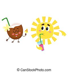 Cute, funny coconut and sun characters talking, drinking...