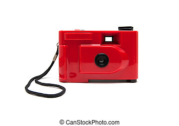 Disposable camera isolated on white background