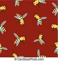 Bee pattern on brown background