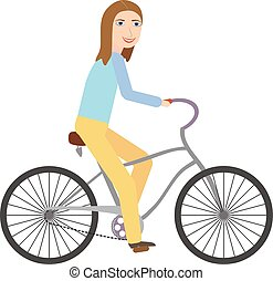 Happy young woman riding bicycle isolated on white...