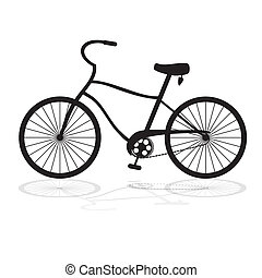 Black bicycle isolated on a white background.