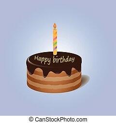 Chocolate cake with candle Happy birthday