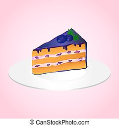 Piece of bilberry cake on the plate on pink background