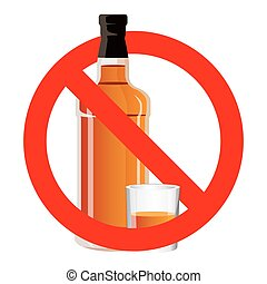 Bottle of alcohol drink and stemware in no allowed sign -...