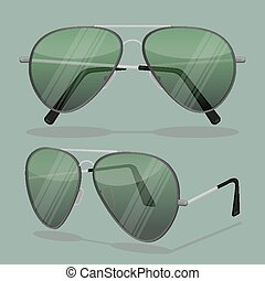 Aviator sunglasses isolated on white. Dark brown reflective...