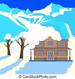 Snow avalanche in mountains covered cottage roof and trees.