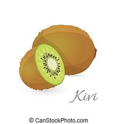 Kiwi exotic fruit whole and half. Kiwifruit gooseberry...