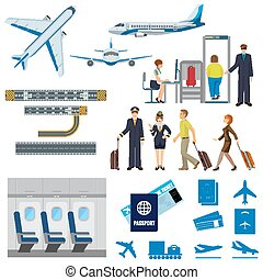 Vector flying passenger aircrafts, plane, check-in, pilot...