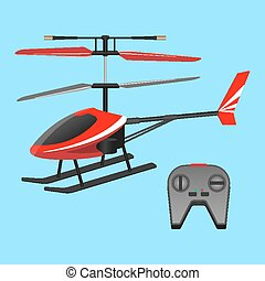 . Red helicopter plaything and black small control panel...
