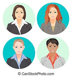 Avatar businesswoman portraits in four circles. Vector user...