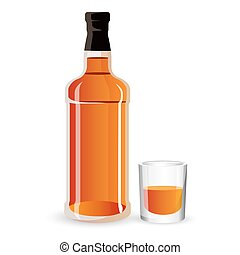 Bottle of alcohol drink and stemware. Whisky, scotch or...