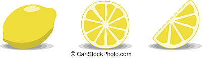 Lemons - Three lemon illustrations on a white background....