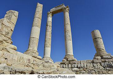 Amman, Jordan - The ruins of the ancient citadel in Amman,...