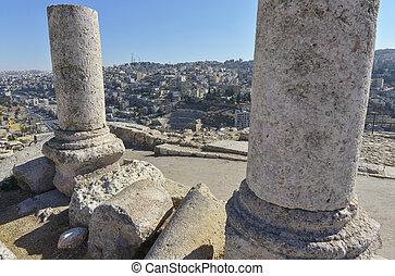 Amman in Jordan - The ruins of the ancient citadel in Amman,...