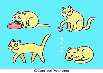 yellow pussycat emoticons set vector illustration