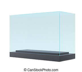 display case. 3d render. isolated on gray background.