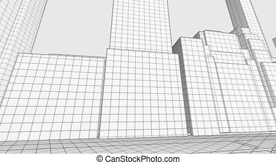 Concept skyscrapers blueprint. Architecture design